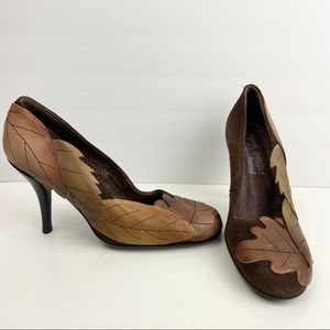 Paloma Barcelo for Zappos Leaf Suede Heels Sz. 36